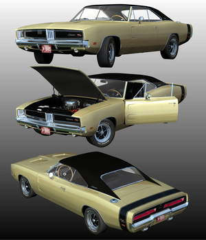 DODGE CHARGER RT 1969 EXTENDED LICENSE 3D Game Models : OBJ : FBX 3D Models Extended Licenses Nationale7
