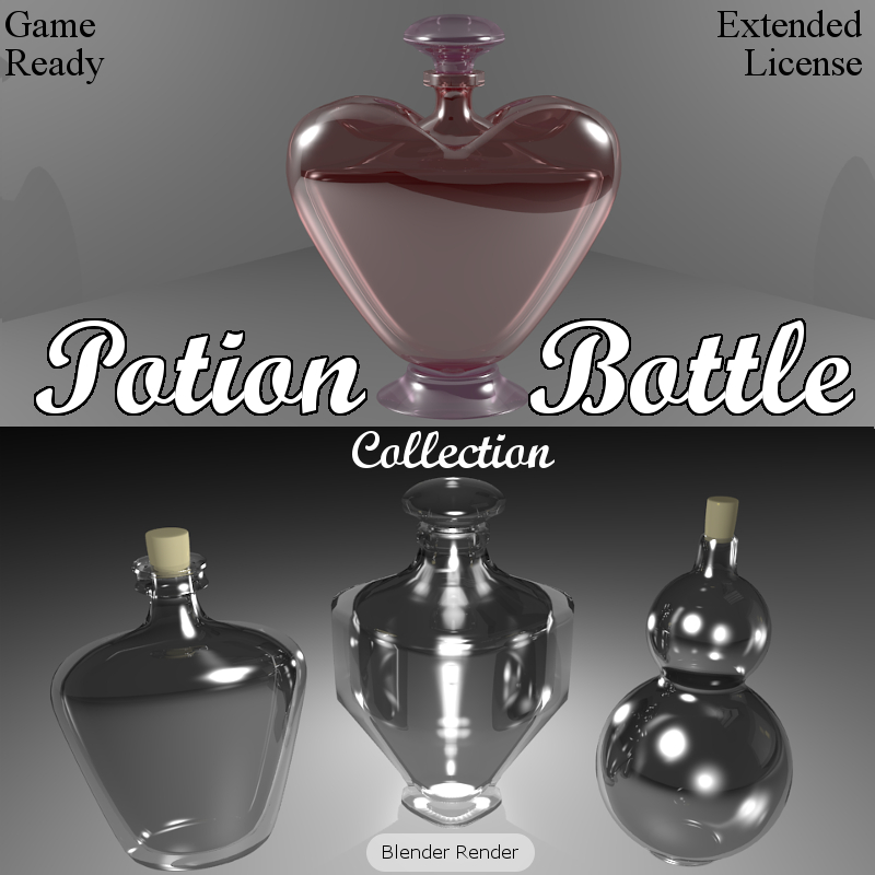 POTION BOTTLE Collection (BLEND, DAE, FBX, OBJ) Extended License by Winterbrose