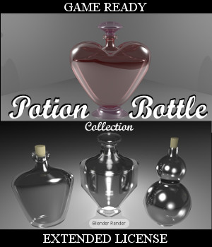POTION BOTTLE Collection (BLEND, DAE, FBX, OBJ) Extended License 3D Game Models : OBJ : FBX 3D Models Extended Licenses Winterbrose