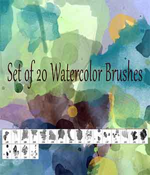 Set of 20 high-res watercolor brushes 2D Graphics EllerslieArt