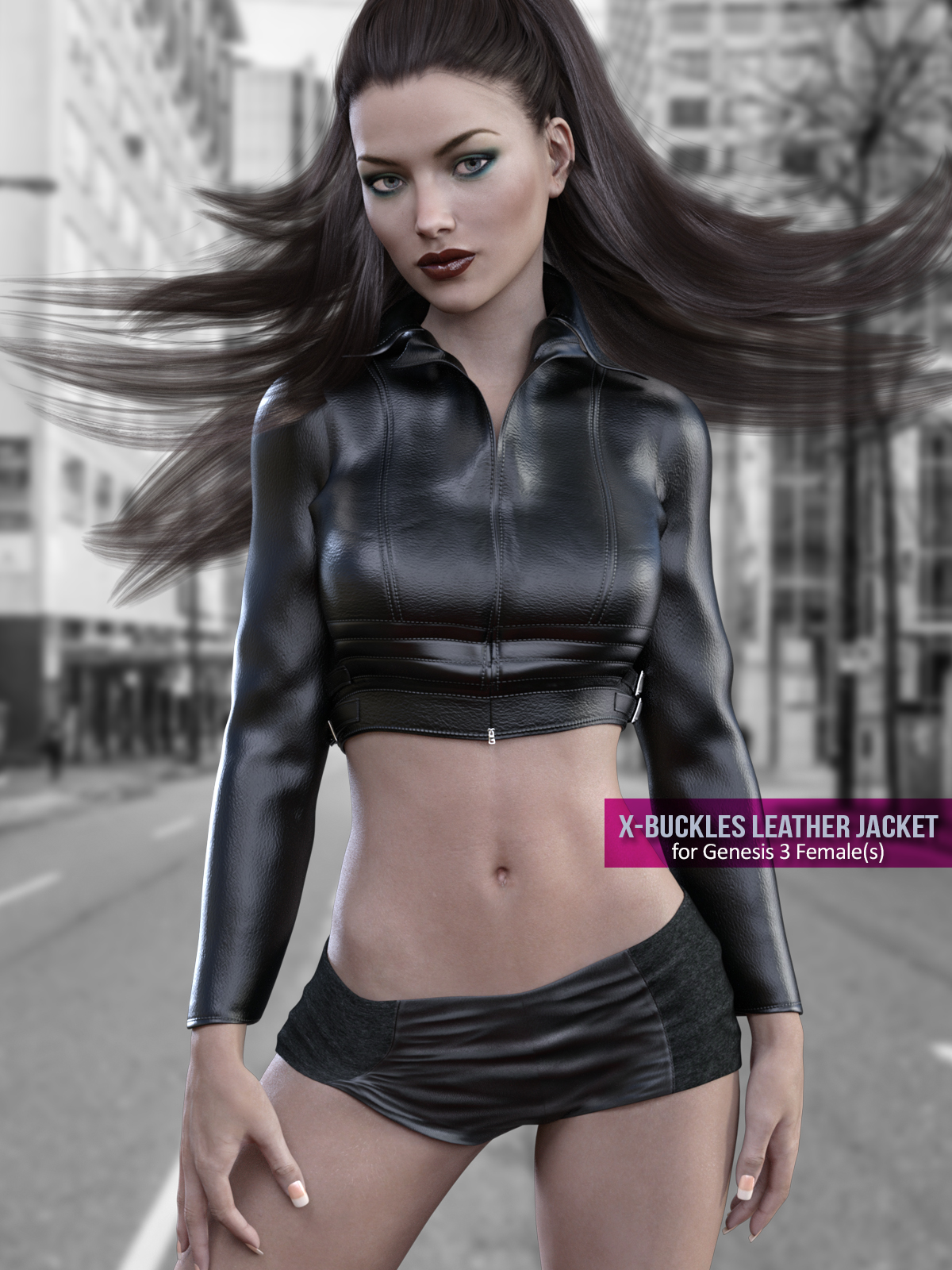 X-Fashion Buckles Jacket Outfit for Genesis 3 Females