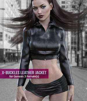 X-Fashion Buckles Jacket Outfit for Genesis 3 Females 3D Figure Assets xtrart-3d