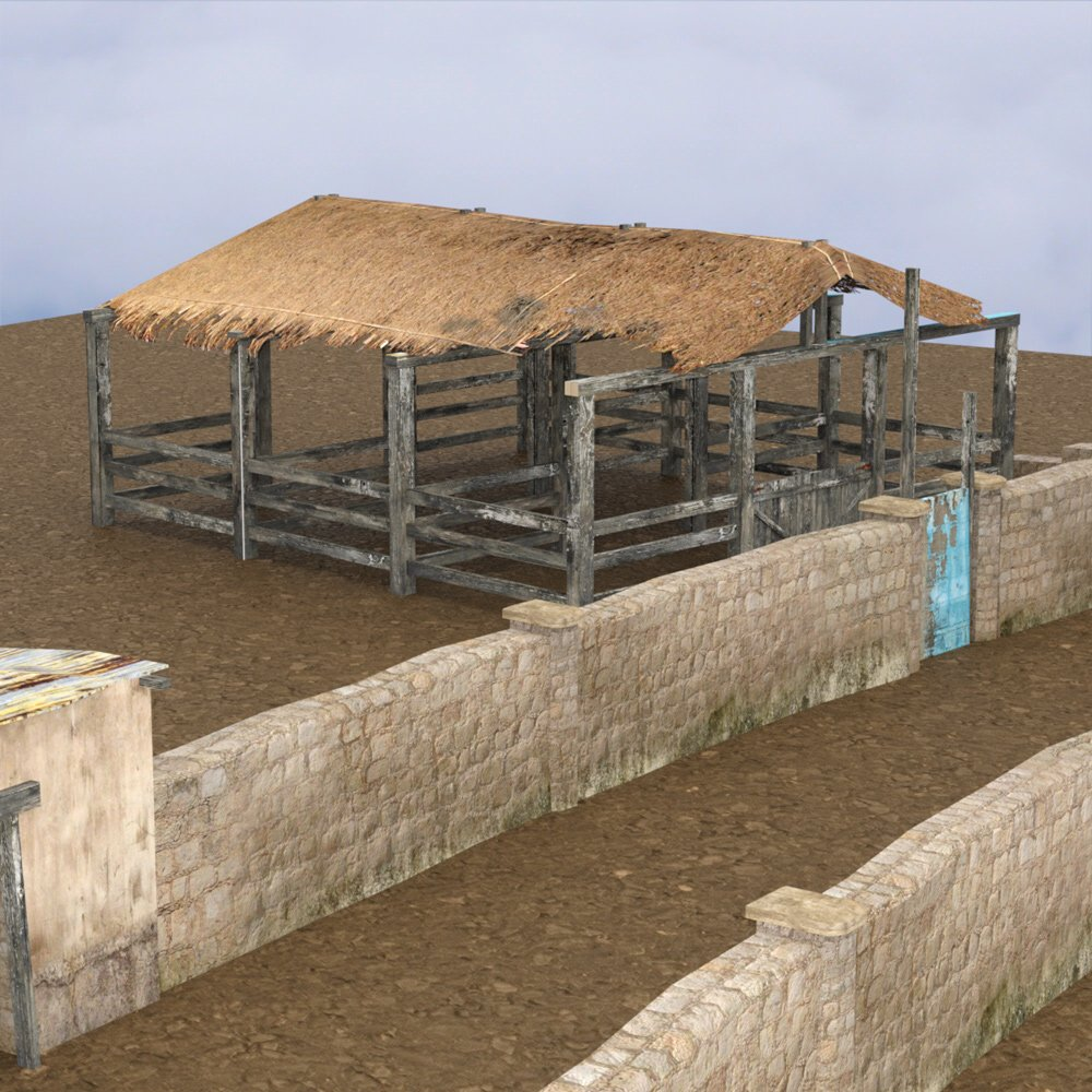 Shanty Town Buildings 2: Farm obj format - Extended License