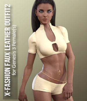 X-Fashion Faux Leather Outfit2 for Genesis 3 Females 3D Figure Assets xtrart-3d