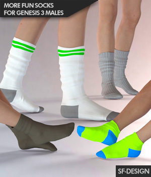 More Fun Socks Pack for Genesis 3 Males 3D Figure Assets SF-Design