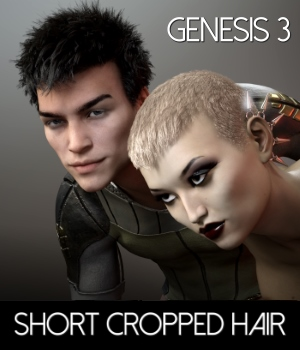 Short Cropped Hair for Genesis 3 Male and Females 3D Figure Assets RedzStudio