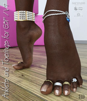 Anklets and Toerings for G3F/V7 3D Figure Assets bigdreams