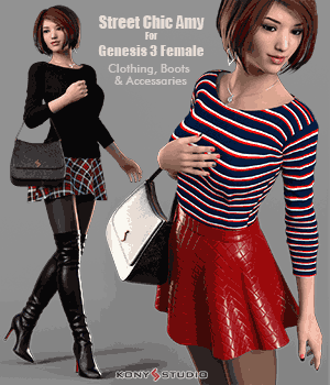 Street Chic Amy for G3f 3D Figure Assets kony