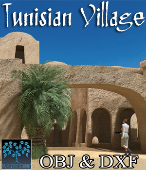Tunisian Village OBJ & DXF - Extended License 3D Game Models : OBJ : FBX 3D Models Extended Licenses BlueTreeStudio