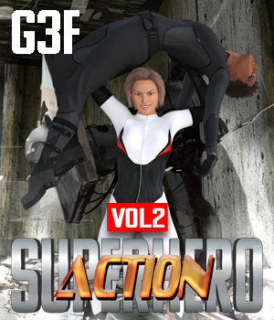 SuperHero Action for G3F Volume 2 3D Figure Assets GriffinFX