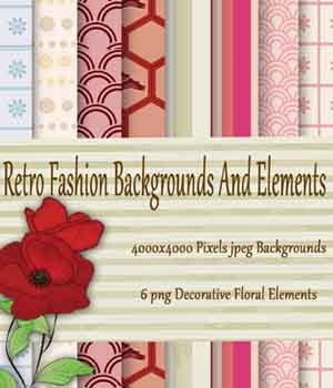 Retro Fashion Backgrounds and Decorative Elements 2D Graphics EllerslieArt