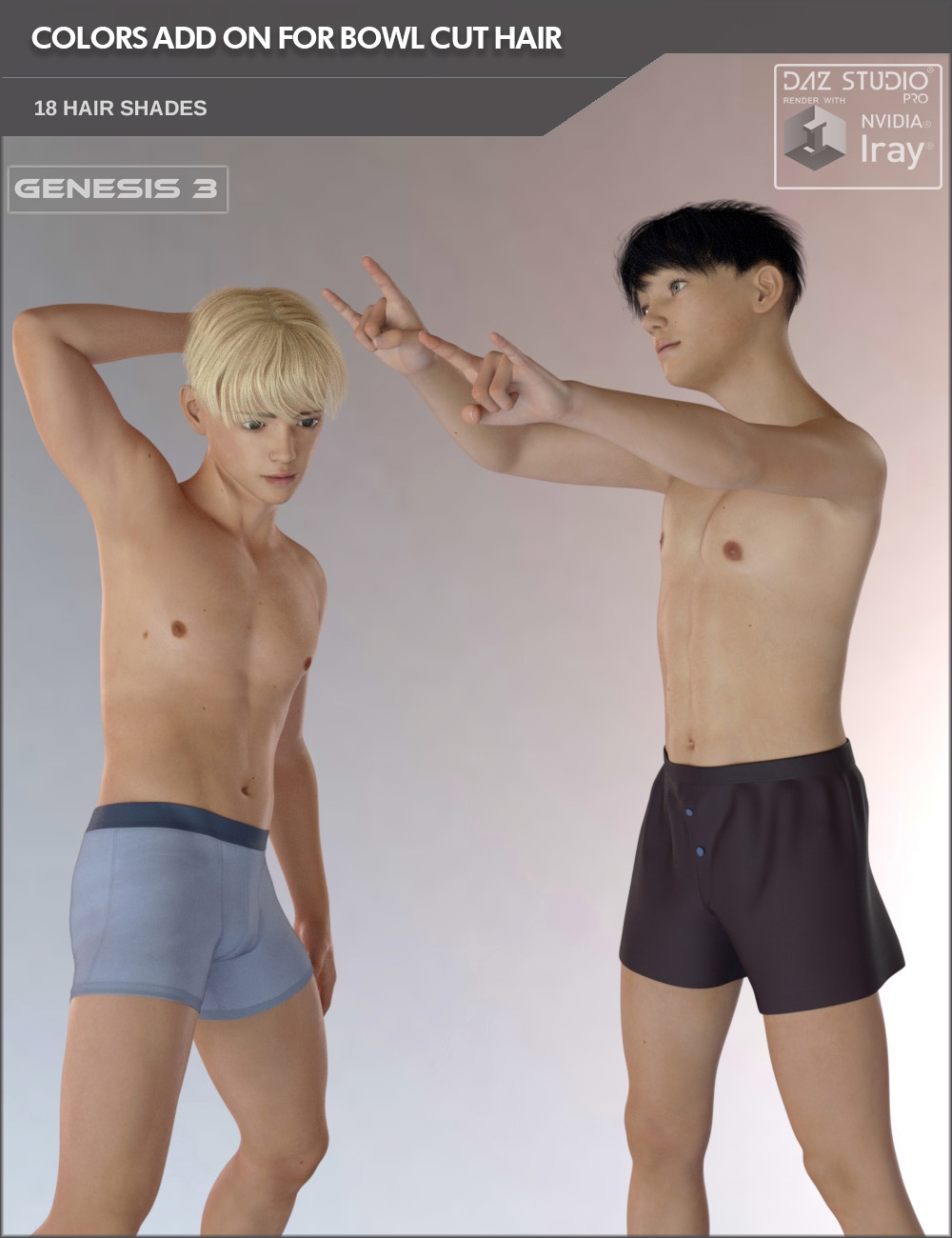 Colors Add On for Bowl Cut Hair for Genesis 3 Males