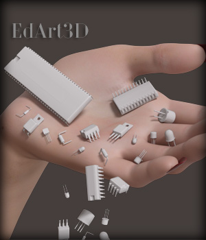 Electronic Active Components - Extended License 3D Game Models : OBJ : FBX 3D Models Extended Licenses EdArt3D