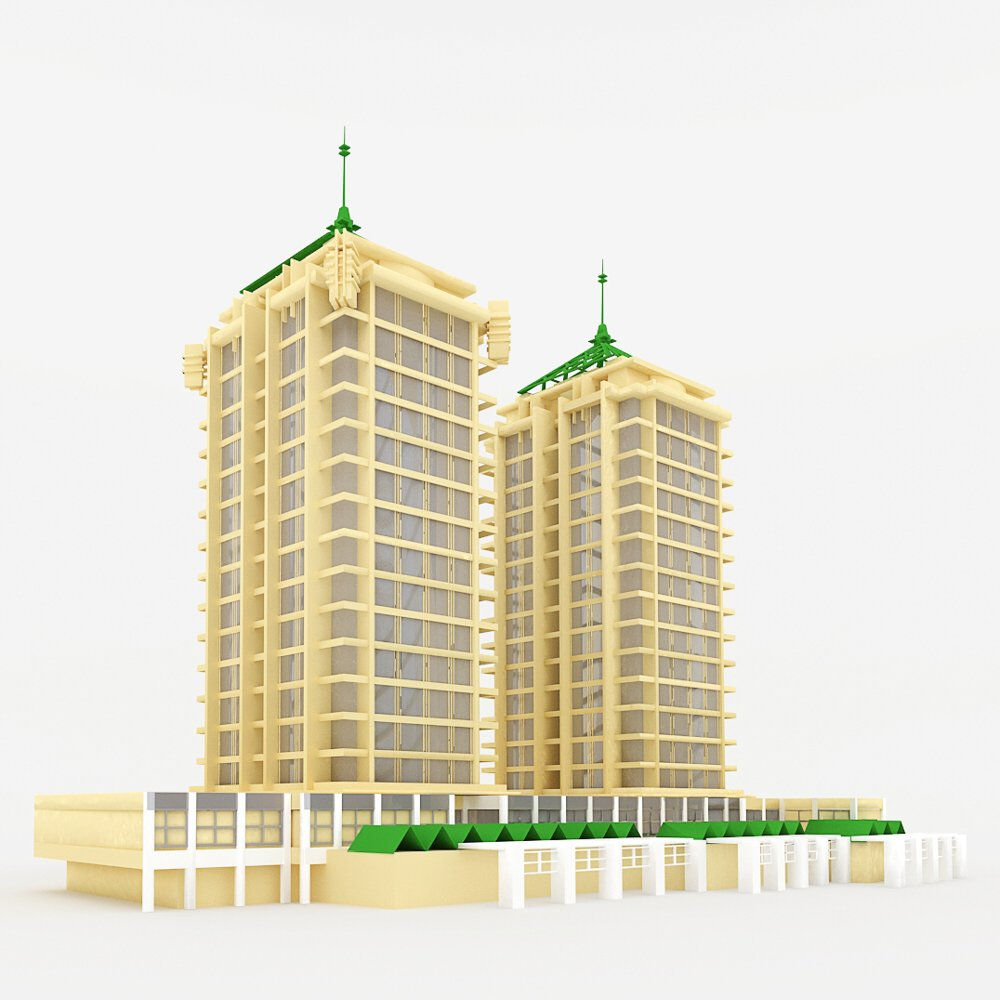 Apartment Building in 3ds and obj format - Extended License