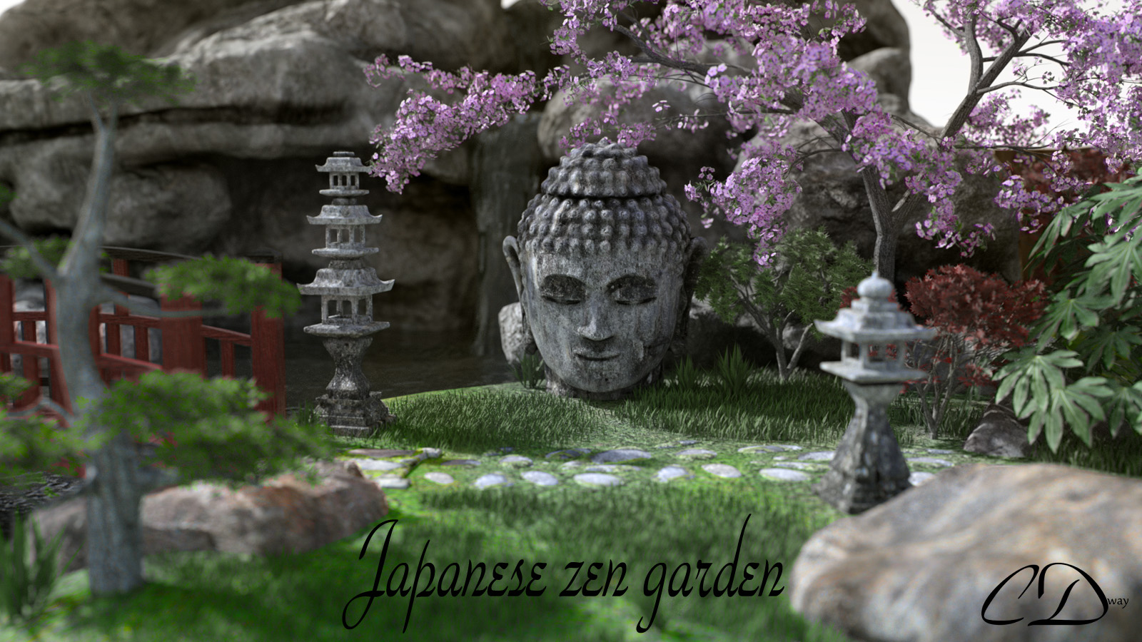 Japanese zen garden 3d models curtisdway for Japanese zen garden