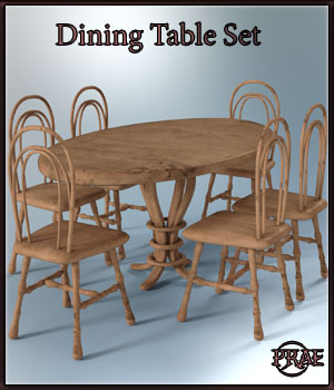 Prae-Dining Table Set EXTENDED LICENCE 3D Game Models : OBJ : FBX 3D Models prae