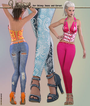 Unique for Skinny Jeans and Corset 3D Figure Assets ArtTailor