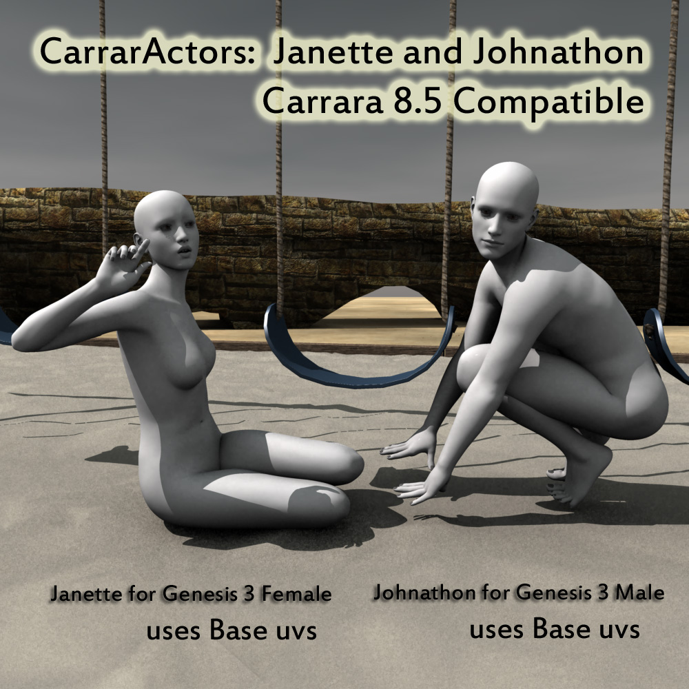 CarrarActors, Janette and Johnathon for Genesis 3 in Carrara 8.5