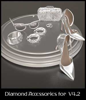 Diamond Accessories Set for V4.2 3D Figure Assets 3D_Style