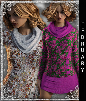 February for Tunic Dress 3D Figure Assets sandra_bonello
