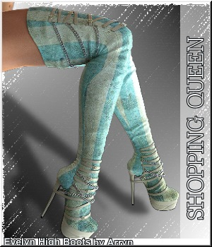 Shopping Queen: 40 x Evelyn High Boots  3D Figure Assets LUNA3D