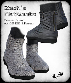 Zach's FlatBoots for GENESIS 3 Females 3D Figure Assets zachary