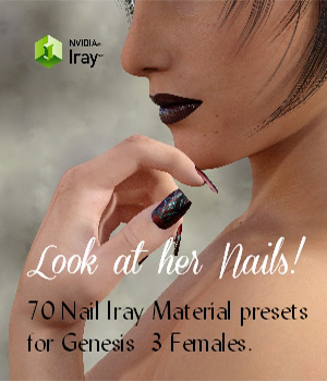 Look at her Nails -70 Iray Material Presets for Genesis 3 3D Figure Assets nelmi