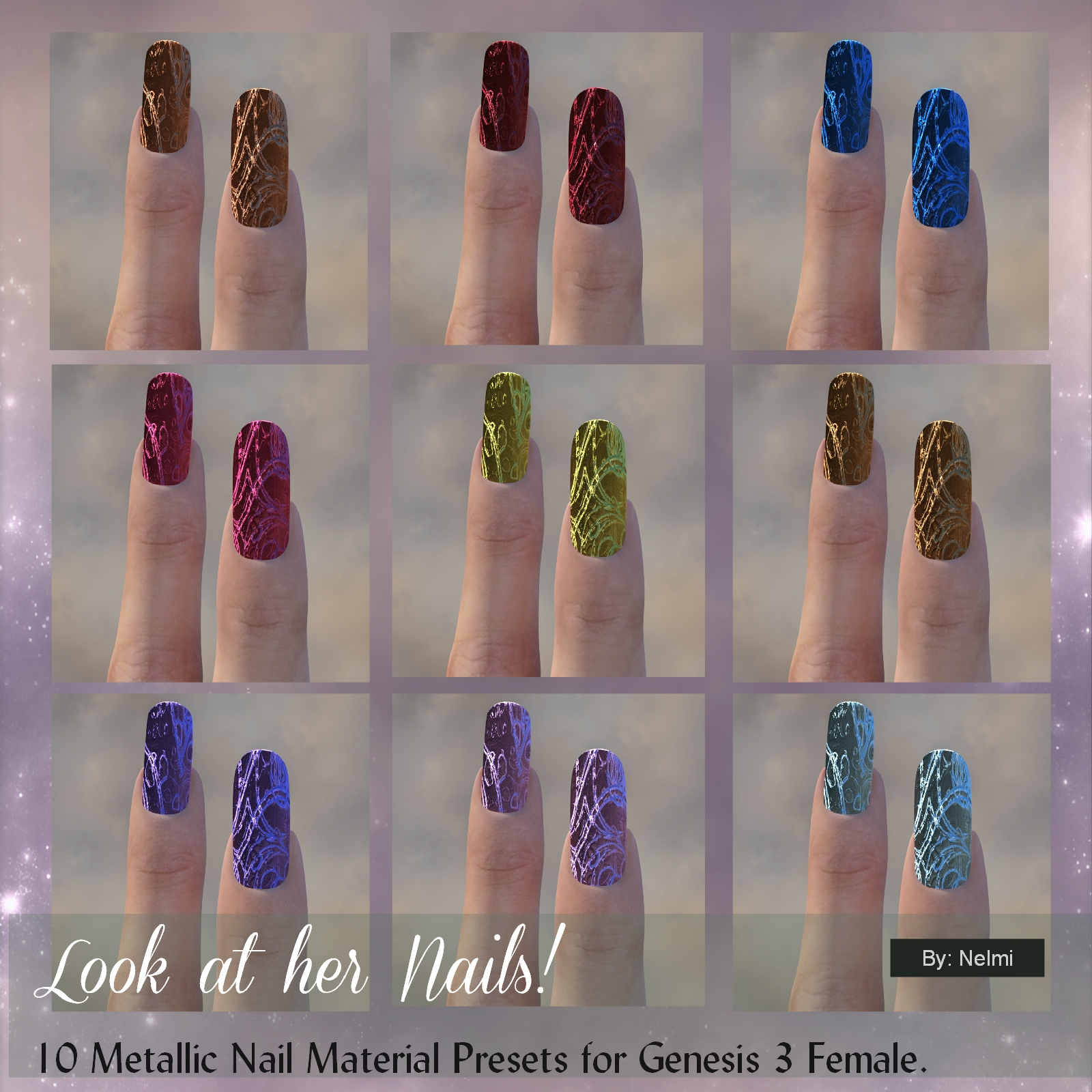 Look at her Nails -70 Iray Material Presets for Genesis 3 3D Figure ...