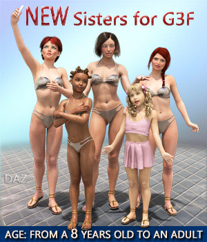 NEW Sisters for G3F - Full Custom Character Morphs 3D Figure Assets Mar3D