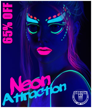 Neon Attraction: Bodypaints, Lights and Shaders for Genesis 3 Females 3D Figure Assets 3D Software : Poser : Daz Studio outoftouch
