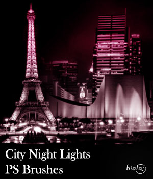 City Night Lights PS Brushes 2D Graphics biala