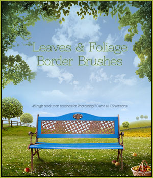 FS Leaves & Foliage Border Brushes 2D Graphics FrozenStar