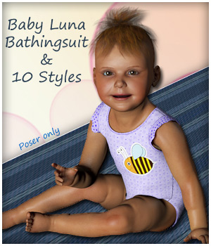 Baby Luna Bathingsuit and 10 Styles  3D Figure Assets karanta