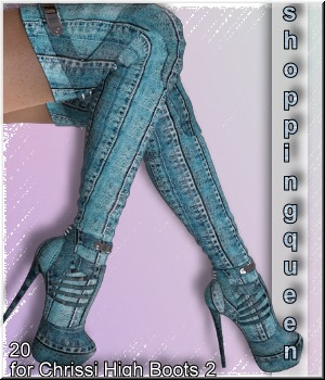 Shopping Queen: for Chrissi High Boots 2 3D Figure Assets LUNA3D