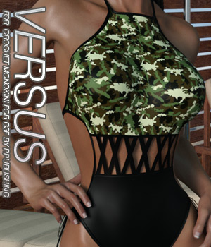 VERSUS - Crochet Monokini for Genesis 3 Female 3D Figure Assets Anagord