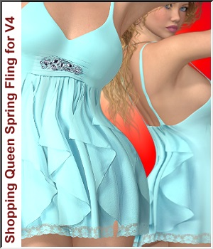 Shopping Queen: for Spring-Fling Dress V4 3D Figure Assets LUNA3D