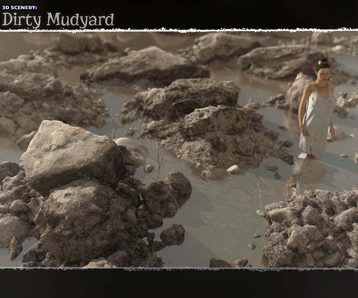 3D Scenery: Dirty Mudyard - Extended License