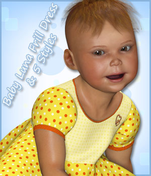 Baby Luna Frill Dress and 5 Styles 3D Figure Assets karanta