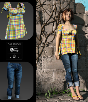 Pretty Plaid for Breezy Picnic Outfit 3D Figure Assets PsychoGinger