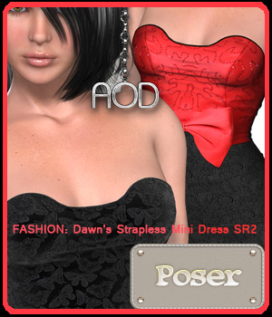 FASHION: Dawn's Strapless Mini Dress SR2 3D Figure Assets ArtOfDreams