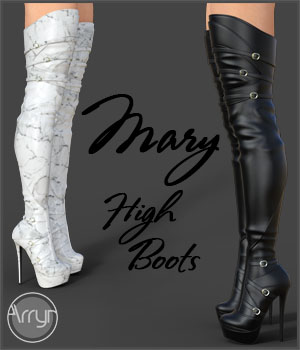 Mary High Boots for Genesis 3 Females 3D Figure Assets Arryn