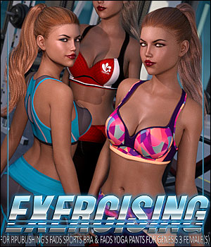 Exercising for Fads Yoga Pants & Sports Bra 3D Figure Assets ShanasSoulmate