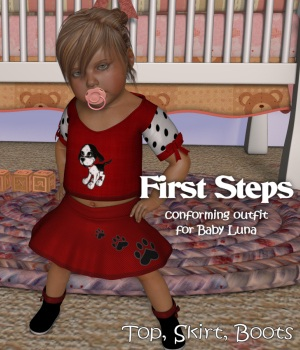 First Steps Outfit 3D Figure Assets JudibugDesigns
