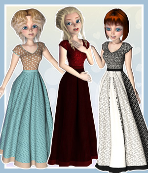 Maisie Gown and 10 Styles   3D Figure Assets karanta