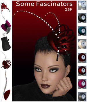 Some Fascinators for G3F 3D Figure Assets 3D_Style