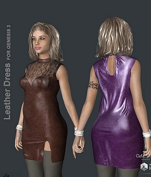 KM-Leather Dress For G3F 3D Figure Assets kmstudio2
