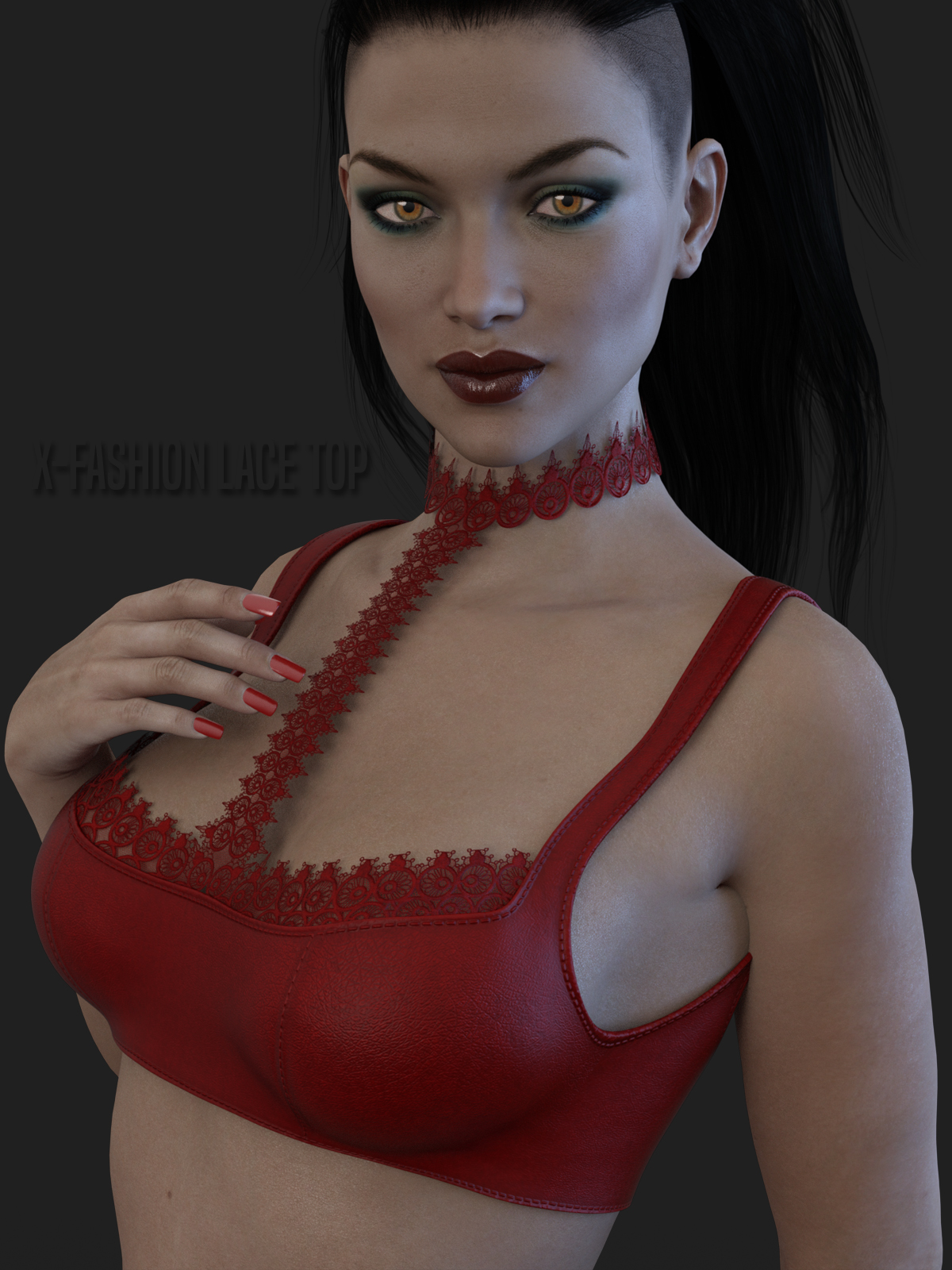 X-Fashion Lace Top for Genesis 3 Females