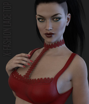 X-Fashion Lace Top for Genesis 3 Females 3D Figure Assets xtrart-3d