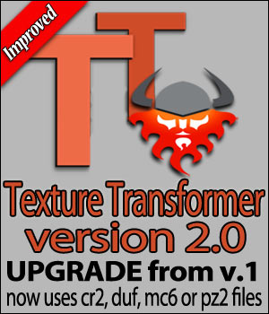 Texture Transformer v.2 Upgrade from v.1 3D Software : Poser : Daz Studio : iClone Blacksmith3D