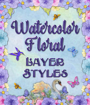 Watercolor Floral Layer Styles 2D Graphics fractalartist01